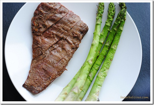 Sesame and Garlic Flank Steak With Grilled Asparagus