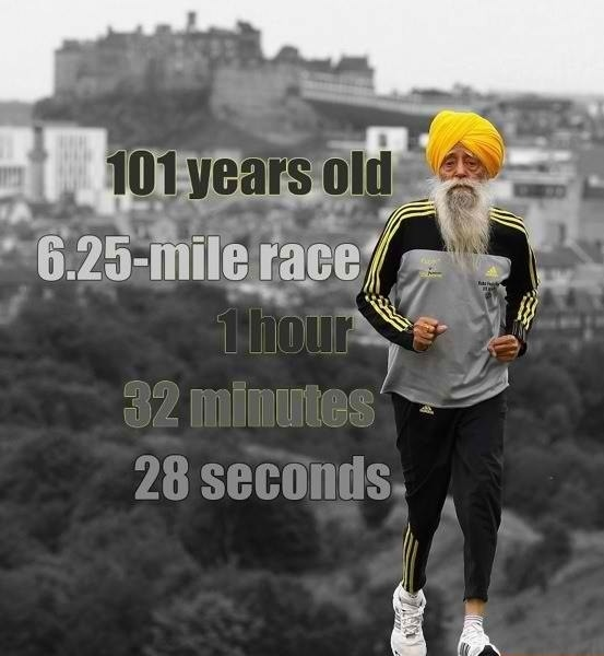 Oldest marathon runner Fauja Singh 101 years old victorious and still kicking it.